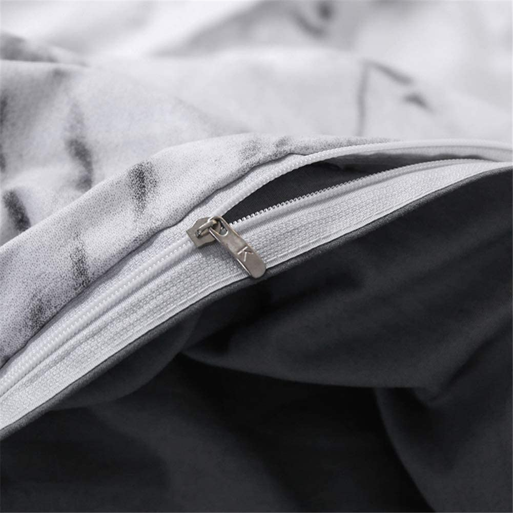 Blanco Color Blanco y Gris AMYOCAT con Cierre de Cremallera Juego de Ropa de Cama para ni/ños y ni/ñas Microfibra Microfibra 135 x 200 cm Funda n/órdica de 135 x 200 cm dise/ño de m/ármol