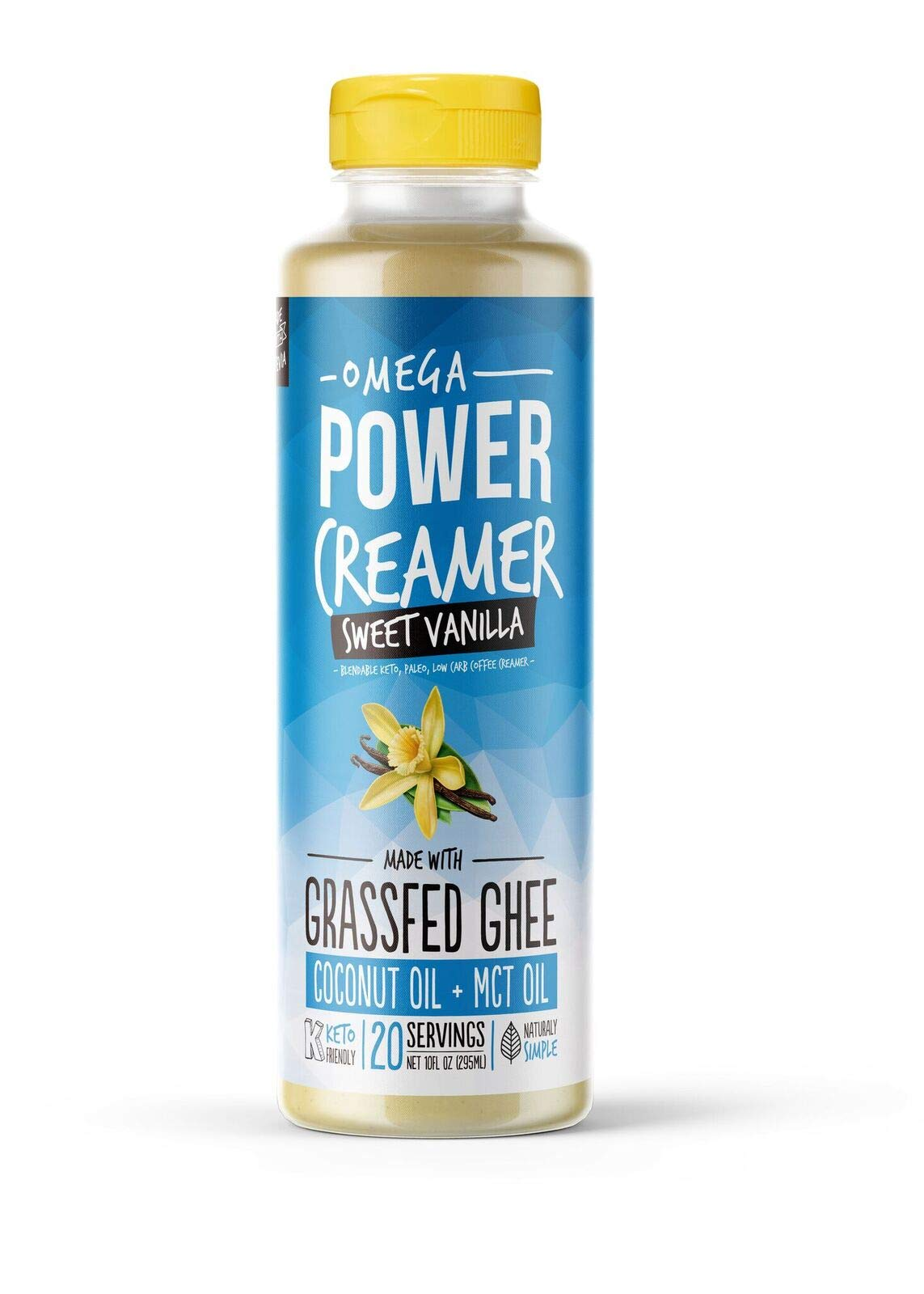 Omega PowerCreamer - VANILLA - Grass-fed Ghee, Organic Coconut Oil, MCT Oil, Natural Vanilla Flavoring, Stevia | Keto Coffee Creamer | Paleo, Low Carb, Sugar Free, Butter Coffee 10 fl oz (20 servings)