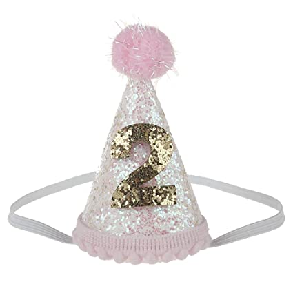 Petsidea Glitter Dog First Birthday Cone Hat Mini Doggy Cat Kitty Party Hats White