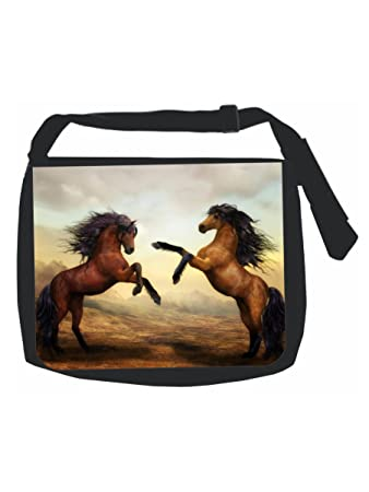 Galloping Horses Painting Print Design Black School Backpack /& Pencil Bag