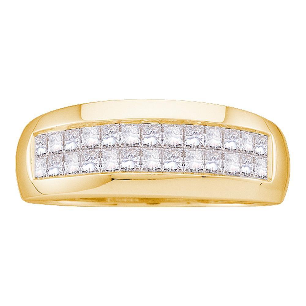 14kt Yellow Gold Mens Princess Diamond Wedding Band Ring 1.00 Cttw