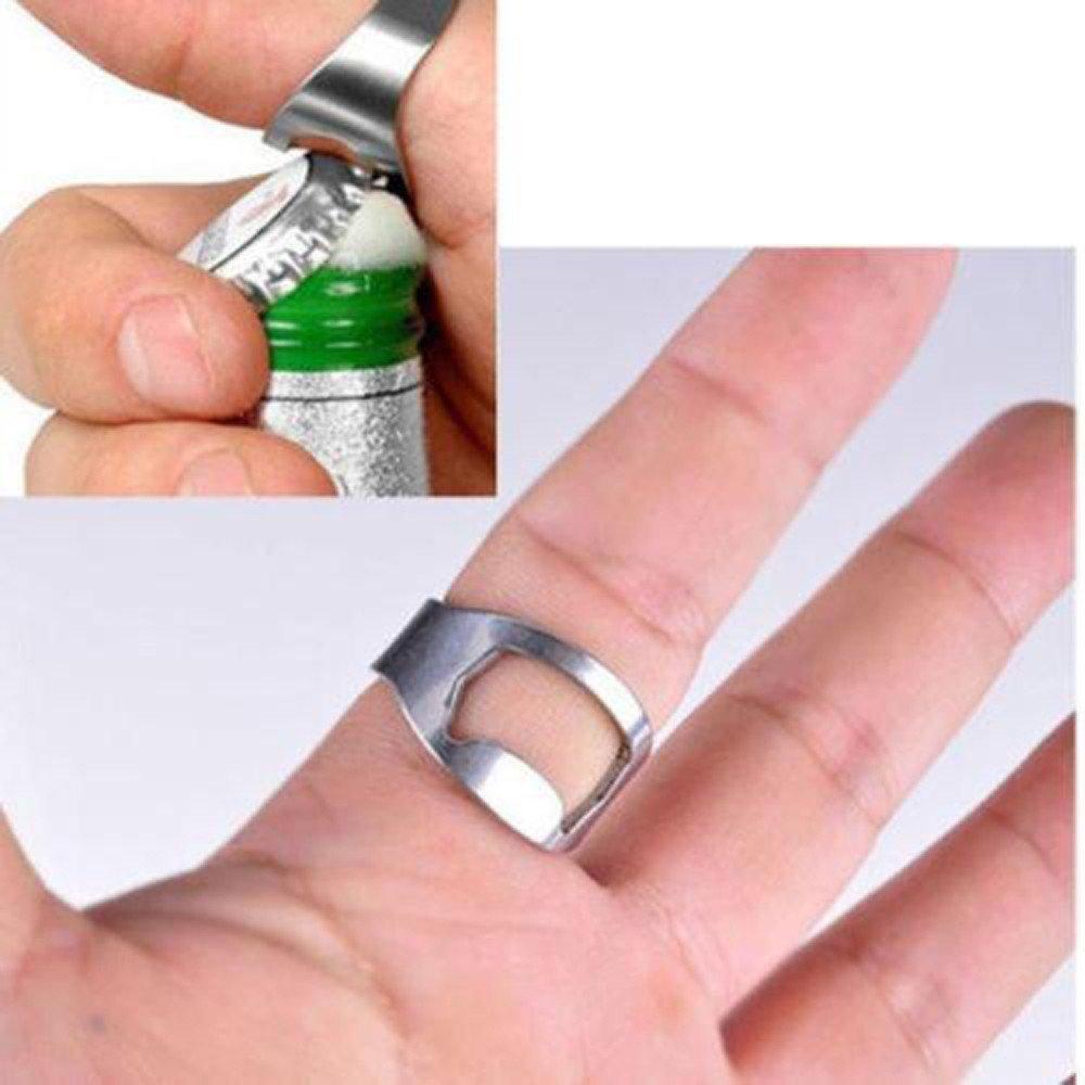 5 Pcs Stainless Steel Finger Thumb Ring Bottle Open Opener Bar Beer Tools Set