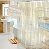 Gold Shower Curtain EVA Shower Curtain Liner with Hooks,Mold&Mildew Resistant,Waterproof, Anti-bacterial, Feagar 72x72 Inch,PVC Free, Non Toxic,Eco-Friendly,Odorless Clear Gold Sparkling Sequins Bathroom Sets, Yellow