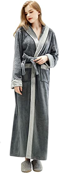 Old-to-new Womens Lightweight Patterned Long Kimono Robe Silk Bathrobe with Pockets