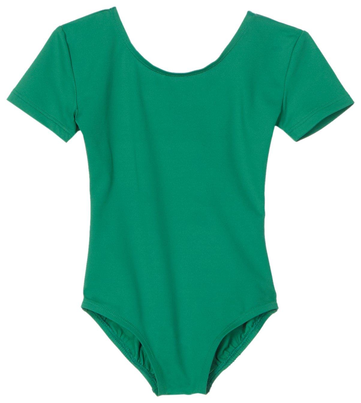 Danskin Little Girls' Short-Sleeve Leotard, Kelly Green, Toddler (2T-4T)