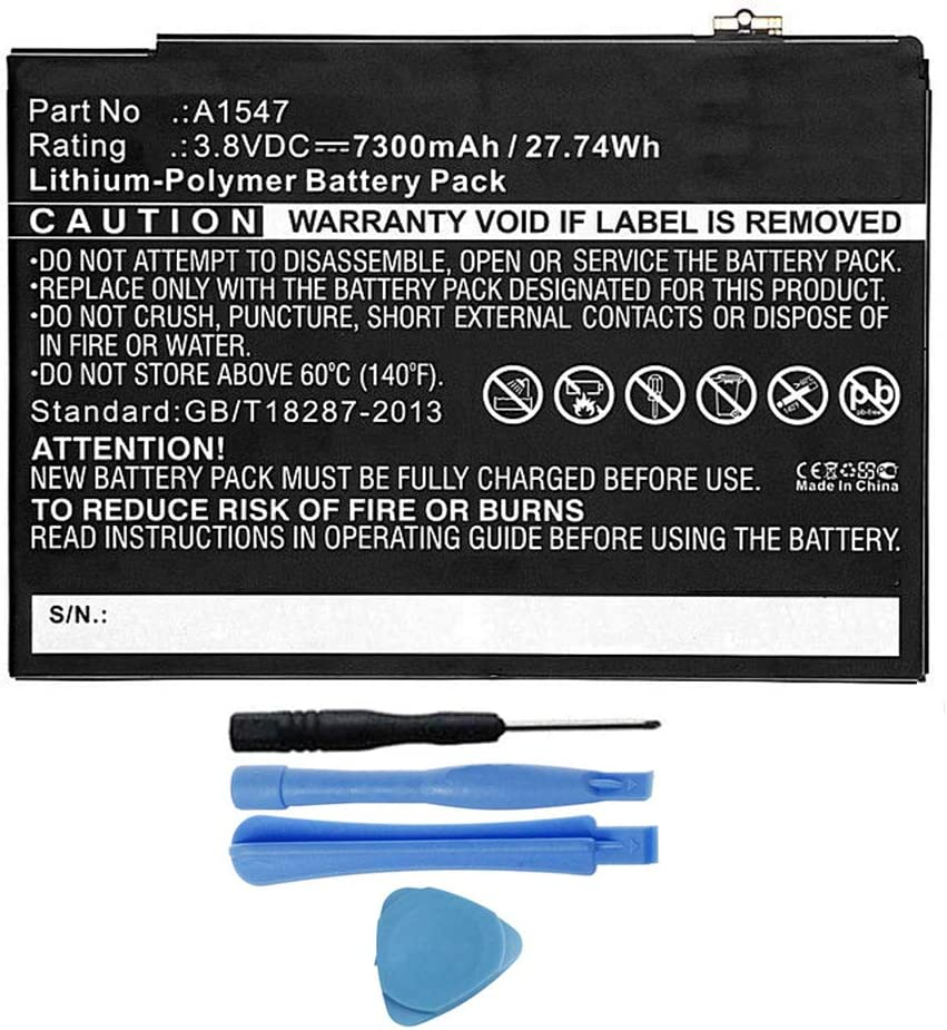 MPF Products 7300mAh A1547 Battery Replacement Compatible with Apple iPad Air 2 A1566, iPad Air 2 A1567, iPad 6 (6th Generation) with Installation Tools