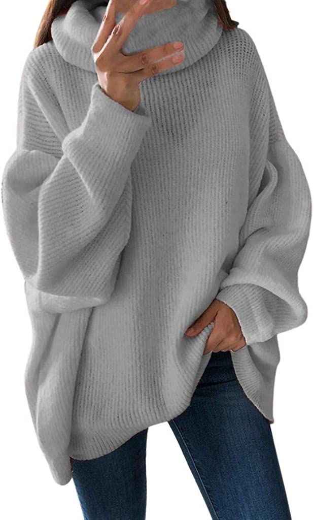 Luckycat Mujer Suéter de Cuello Alto Jersey de Punto de Invierno Jerséis Casual para Mujer Size S-XL