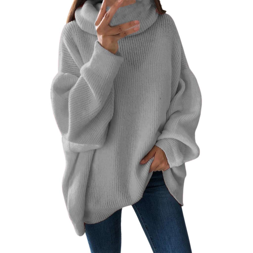 Women Loose Solid Color Sweatshirt Cozy Turtleneck Jumpers Pullover Blouse High Neck Blouse T-shirt Undershirt Long Sleeve Pullover For Ladies Women Sweatshirt To Outdoor Work Casual Tops (S, Gray)