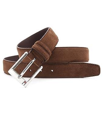 c2986ede178 Tommy Hilfiger - Belts - Men - Boston Brown Suede Belt for men - 85:  Amazon.co.uk: Clothing