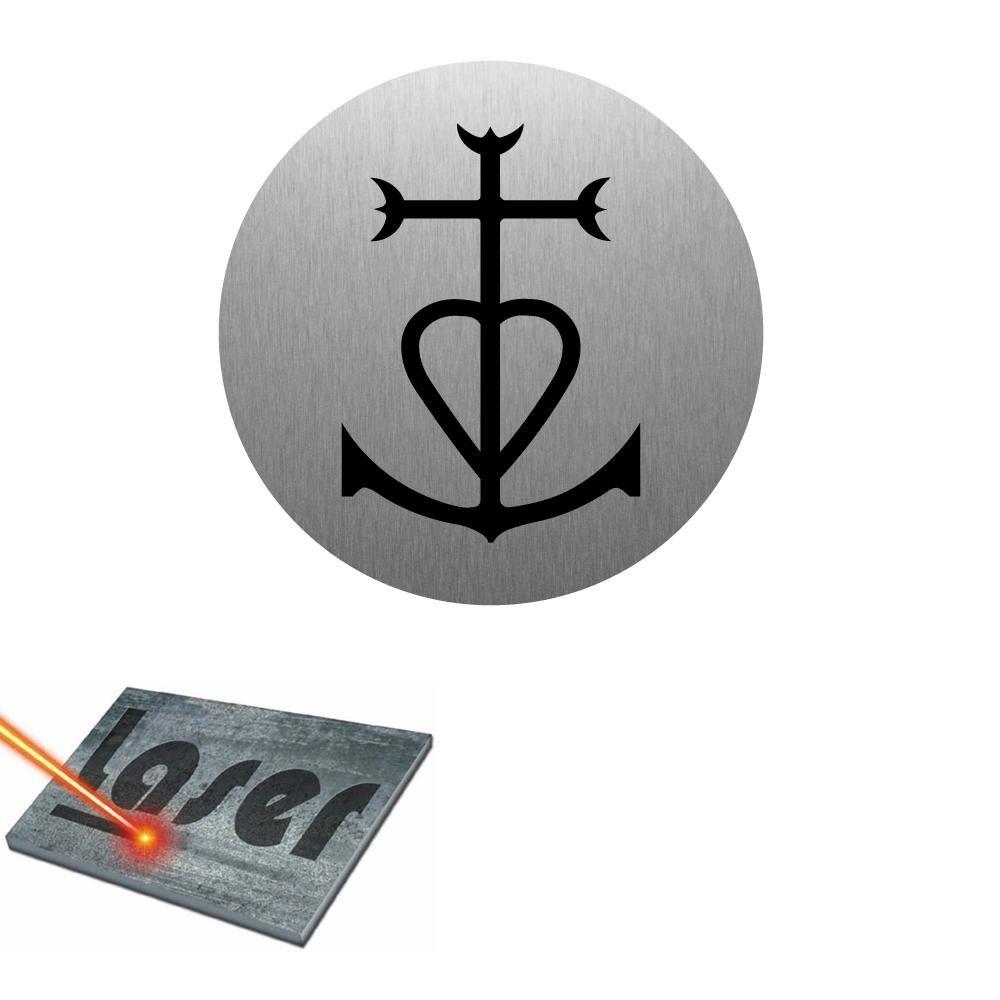 Plaque grav/ée autocollante 8cm cm Croix de Camargue fond Alu Bross/é