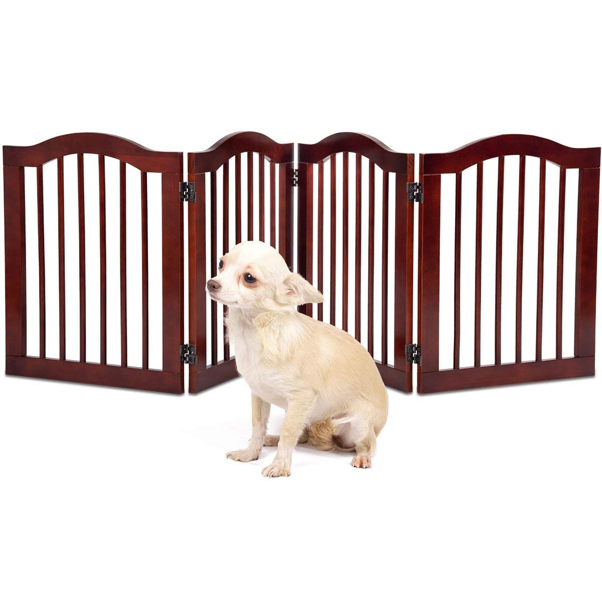 Giantex 4 Panel Wood Dog Gate Pet Fence Barrier Folding Freestanding Doorway Fence Doggie Puppy Fencing Enclosure System Indoor Safety Gate for Dogs 24