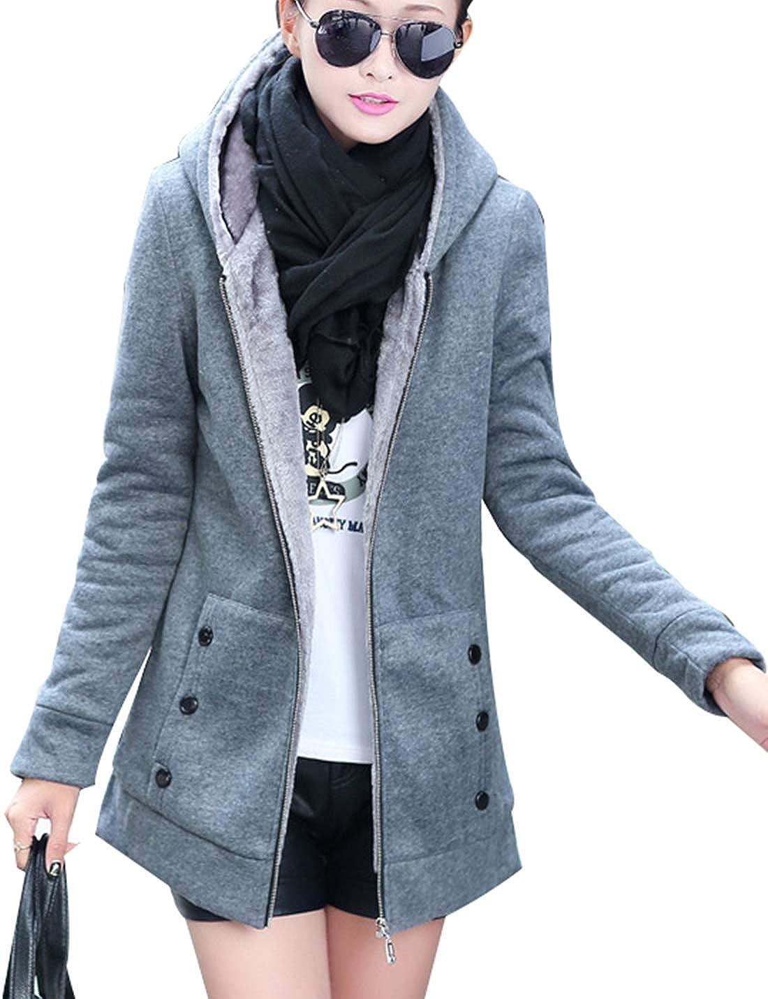 Naliha Women Faux Fur Jackets Coats Zip Hoodie Casual Parkas Coat Outerwear