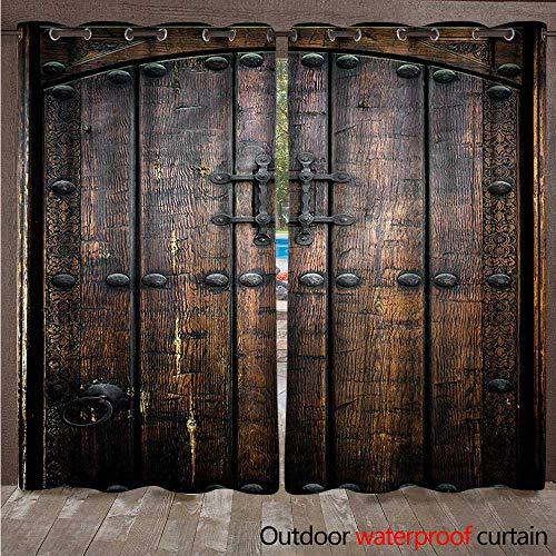 Rustic Outdoor Curtain for Patio Vintage Old Wooden Door W84 x L96(214cm x ()