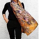 Big Silk Scarf Hand Painted & Printed Wedding Shawl Large Oversize Gold Lilac Floral Summer Boho Style Fashion Designer Long Wraps Bridgesmaid Women Gift