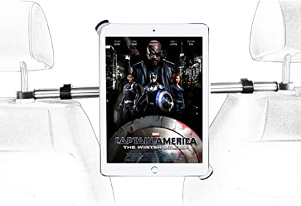 Car Headrest Tablet Holder for iPad, EXSHOW Car Headrest Mount Clamp for iPad 2019 2018 2017 iPad Pro 12.9 12.5 10.5 9.7 Pad Air, Samsung Tab, Huawei Tab and All 9.7 ''-14.5 '' Tablets
