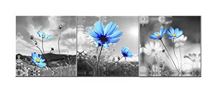 Amoy Art  The Blue Dandelion Flowers Oil Painting Canvas Wall Art Pictures  Canvas Prints Stretched