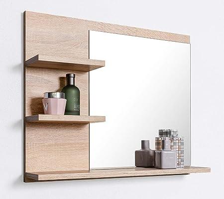 DOMTECH Badspiegel mit Ablagen, Badezimmer Spiegel, Wandspiegel ...