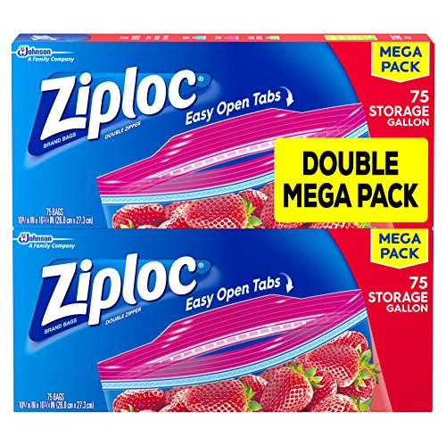 Ziploc Storage Bags, Gallon, Mega Pack, 150 ct (2 Pack, 75 -