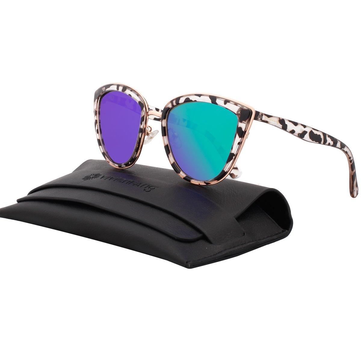 VIVIENFANG Women's Flash Mirror Lens Oversize Polarized Cateye Sunglasses P1891E Smoke Demi