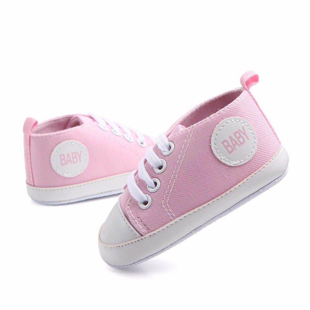 Newborn Baby Boys Girls Canvas Shoes Anti-Slip Lightweight Lace Up Sneaker Running Sports Casual Espadrilles Flats Pink, 9-12M