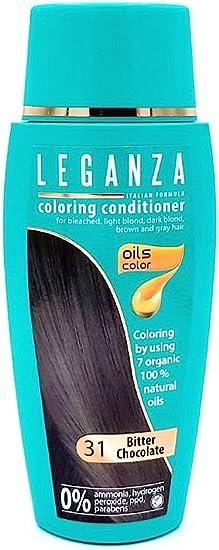 Leganza, 7 aceites naturales, bálsamo para el pelo de color chocolate oscuro 31
