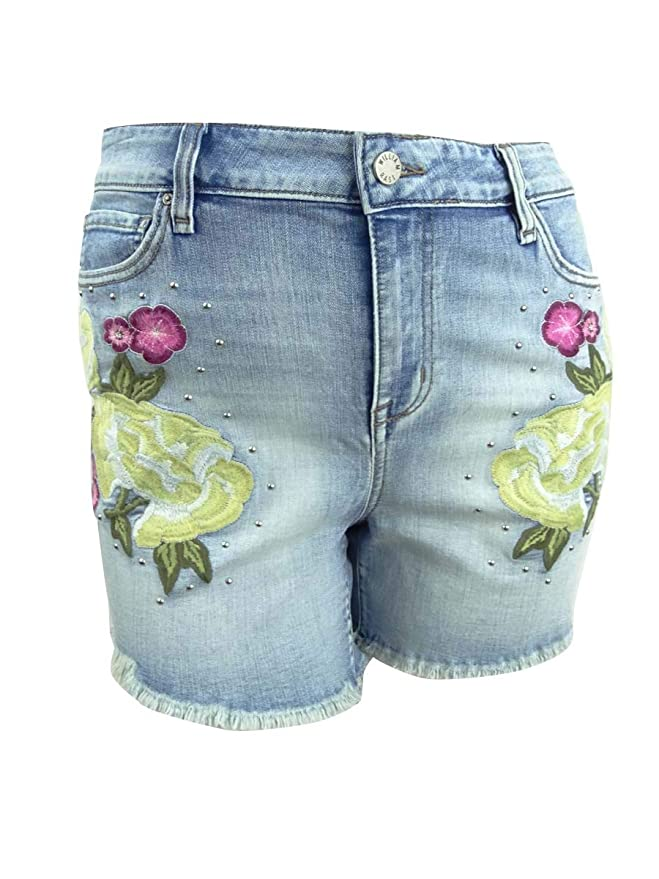 William Rast Womens Plus Embroidered Studded Denim Shorts
