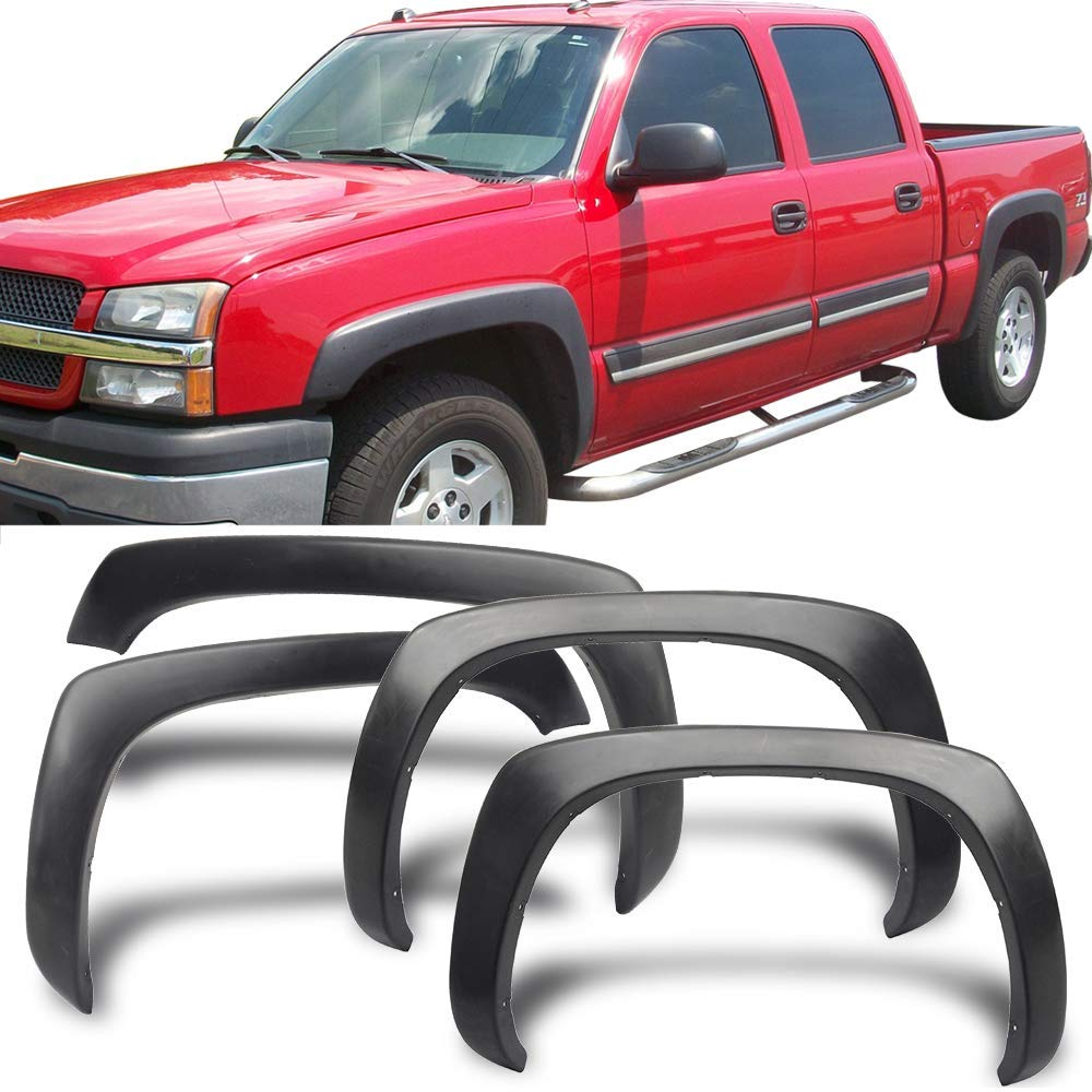 Front Rear Right Left Wheel Cover Protector Vent Trim by IKON MOTORSPORTS OE Style Black Polypropylene Fender Flares Fits 1999-2006 Chevy Silverado PP /2000 2001 2002 2003 2004 2005