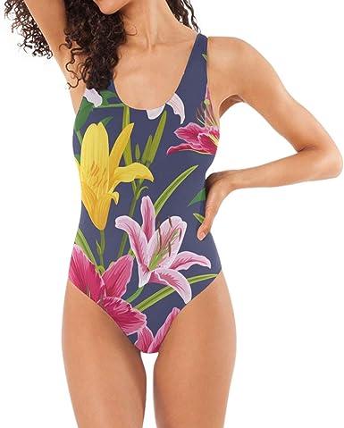 One piece girl/'s flower pattern swimsuit