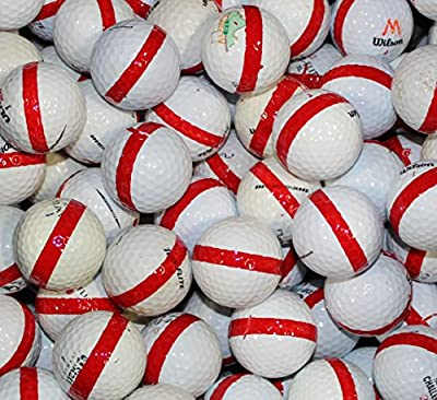 600 Premium Assorted Red Striped White Range Practice Golf Balls