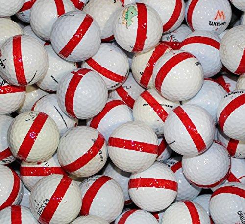 600 Premium Assorted Red Striped White Range Practice Golf Balls ()