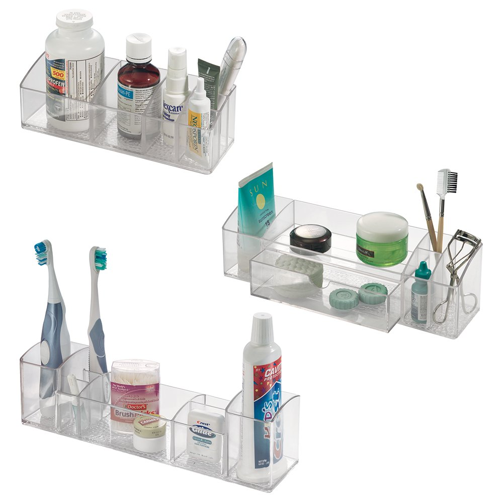 Med+ - Makeup and Medicine Cabinet Organizer - Set of 3: Short Organizer, Drawer Caddy, Multi-Level Organizer - Clear