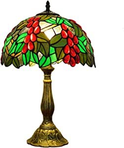 Ø30cm Tiffany Style Table Lamp Green Idyllic Crystal Grape Stained Glass Bedroom Decor Lamp with Aluminum Alloy Base for Living Room Study,E27
