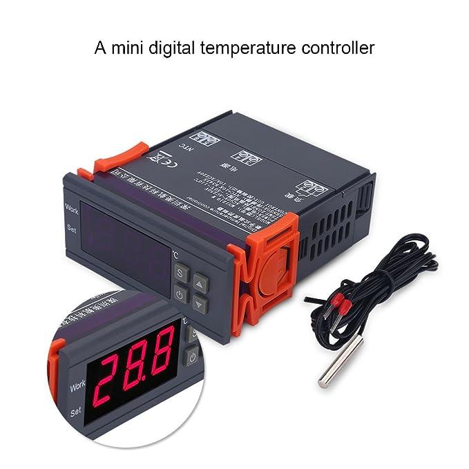 fosa Mini Controlador de Temperatura Digital 220V 10A LCD Display Termostato Termopar -50~110 ℃ para Frigoríficos Granjas: Amazon.es: Electrónica