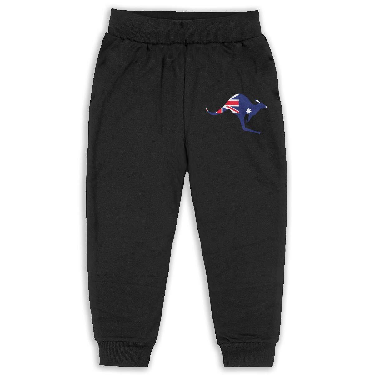 Australian Flag Kangaroo Kids Cotton Sweatpants,Jogger Long Jersey Sweatpants
