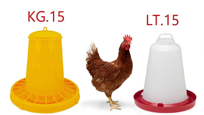 Mangiatoia polli, Galline da kg.15 e Abbeveratoio da lt.15 con Tappo Inferiore per Il riempimento. Contro