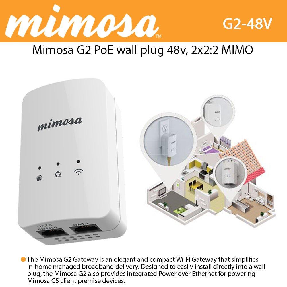 Mimosa G2 PoE 48v wall plug, NA, 2x2:2 MIMO 802.11n 2x2:2 MIMO 16 dBm, 300 Mbps PHY
