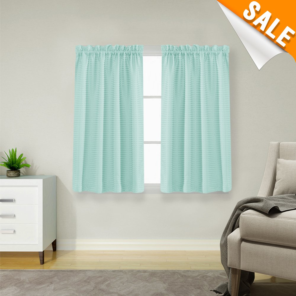 """Lazzzy Baby Blue Waterproof Small Window Curtains for Kitchen Waffle Woven Textured Short Curtains for Bathroom Window Covering for Kitchen 1 Pair 45"""""""
