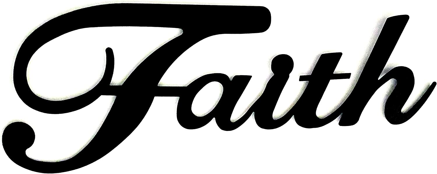 Faith Metal Wall Word Sculpture, Black Metal Inspirational Home Decor by Sunny Berry Co