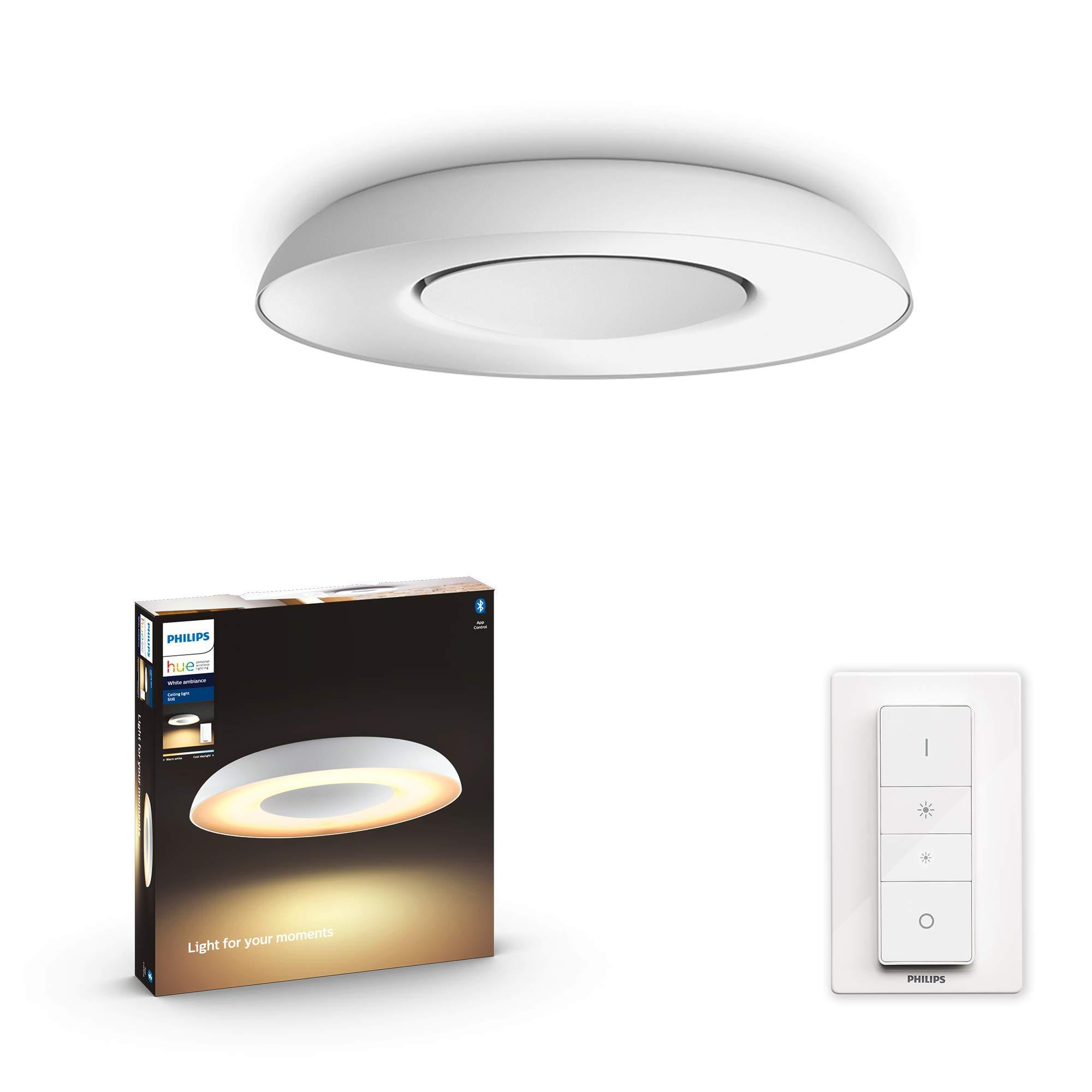 Philips Hue Still Plafón Inteligente LED blanco con Bluetooth, Luz Blanca de Cálida a Fría, Compatible con Alexa y Google Home