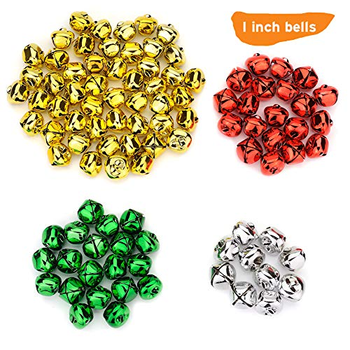 100PCS 1 Inch Jingle Bells Colorful Christmas Metal Bells Craft for Christmas Festival Party Wedding Decorations DIY Project, Large Jingle Bells Bulk, Gold, Silver, Green, Red