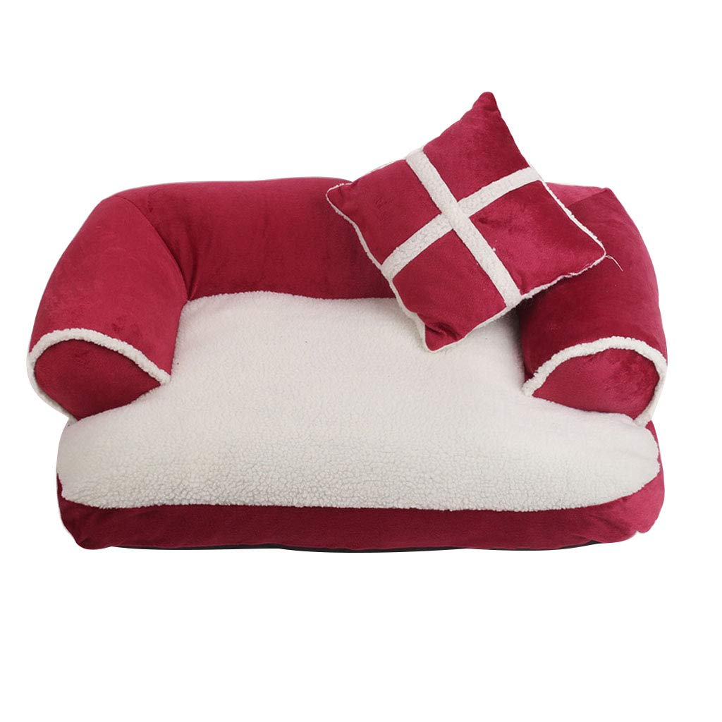 RMJAI 犬の巣スリーボルスタデザインペットソファ猫ベッドクッション用小型中犬 ペットの巣 (色 : ブラック, サイズ さいず : L l) B07QP24X8C 赤 Medium Medium|赤