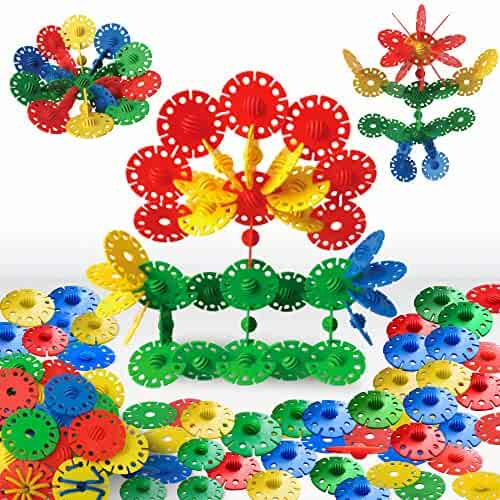 3 Bees & Me Jumbo Flakes Building Toys for Toddlers and Preschool Kids - STEM Toys for Boys & Girls – 75 Pieces - Safe for All Ages