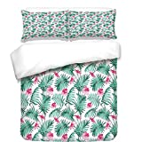iPrint Duvet Cover Set,Watercolor,Tropical Ferns with Flowers Exotic Hawaii Floral Arrangement Blossoming Nature Decorative,Seafoam Pink,Best Bedding Gifts for Family Or Friends