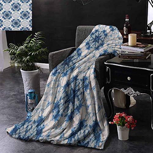 Kenneth Camilla Soft Lightweight Blanket Tie Dye,Tribal Tie Dye Technique Art Featured Odd and Hazy Forms in Symmetric Axis Design,Blue Grey,Custom Design Cozy Flannel Blanket 60