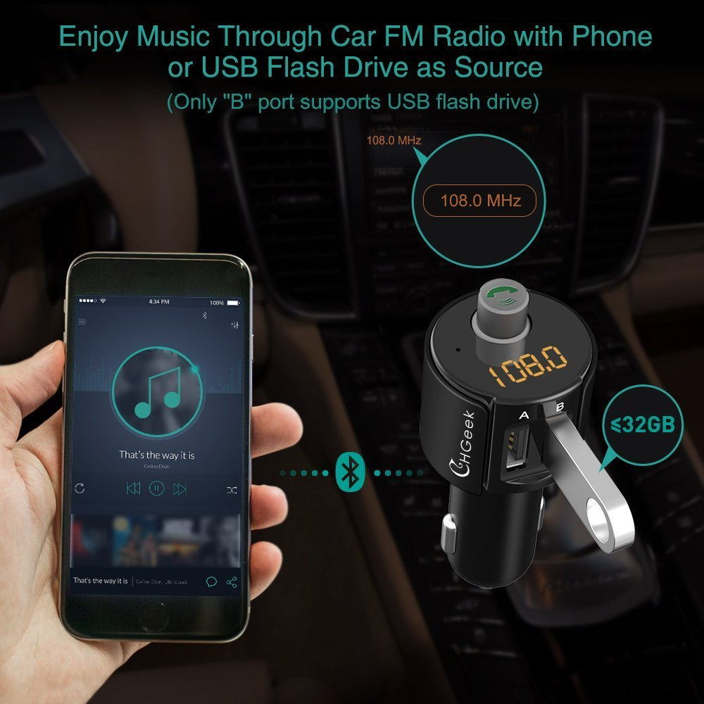 Bluetooth FM Transmitter, CHGeek Wireless In-Car Radio Adapter Hands-free Call Car Kit MP3 Player 3.4A Dual USB Car Charger with Display for iPhone X 8 7 iPad iPod Samsung Android Black by CHGeek (Image #3)