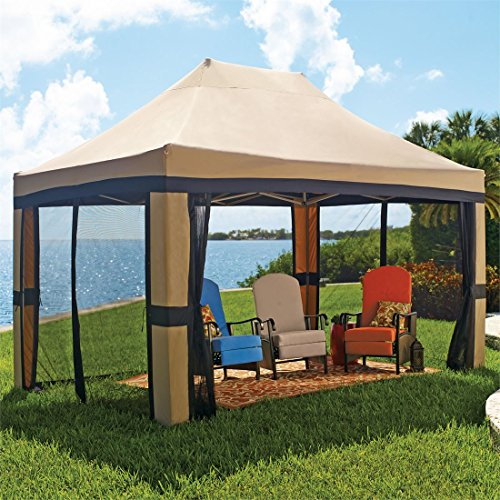 Brylanehome Oversized 10' X 15' Instant Pop Up Gazebo With Screen (Taupe,0)