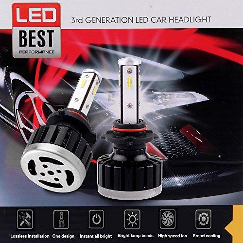 ECCPP 9005 LED Headlight Bulb Super Bright Cree White Auto Headlamp Conversion Kit High Low Beam - 8000Lm 80W 6000K Focus Light - 1 Year Warranty (Pack of ()