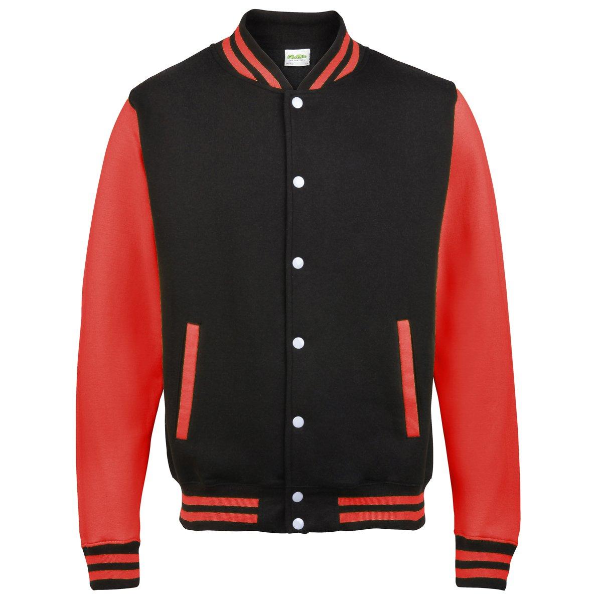 KiarenzaFD Varsity Jacket zweifarbiger Hoods Streetwear Sweatshirt Herren College Jacke schwarz rot