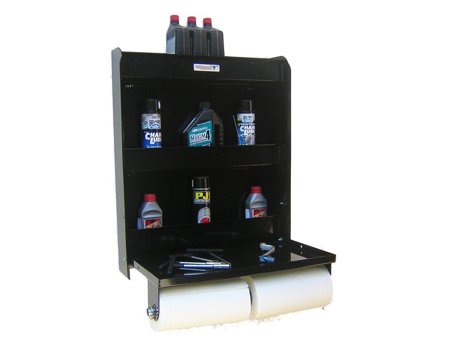 Pit Posse Aluminum Work Station Storage Cabinet Trailer Shop Shelf Race Enclosed Trailer Black