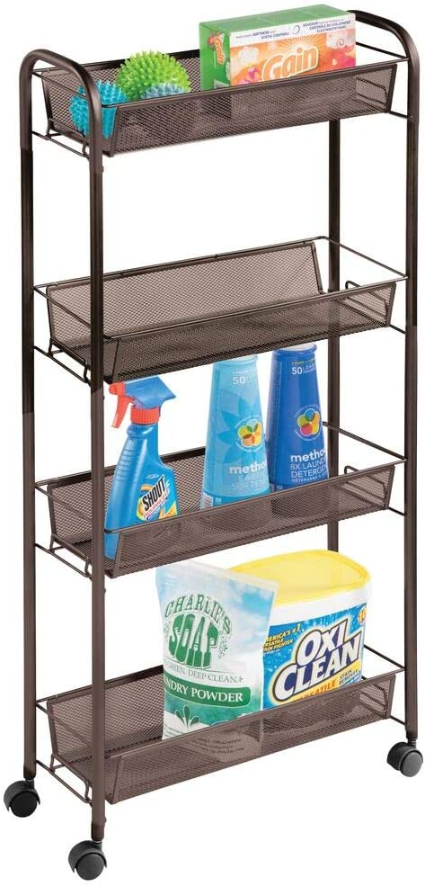 mDesign Portable Rolling Laundry Utility Cart Organizer Trolley with Easy-Glide Wheels and 4 Multipurpose Heavy-Duty Metal Mesh Basket Shelves - Narrow Shelf - Durable Steel Frame - Bronze